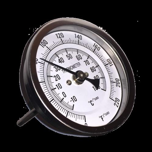 "Weldless Bi-metal Thermometer Kit 3""Face & 4""Probe, 1/2""MNPT, 0~220F degree-0"