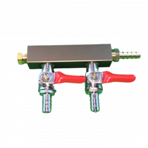 "2 Way Distributor w/Shut-Offs, Plug and 5/16"" Barb Fitting-0"
